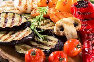 овощи с грибами на гриле