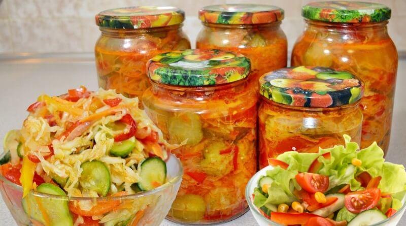 Простые овощные салаты на зиму